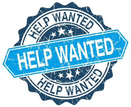 help wanted sign: busca ayuda azul grunge sello redondo en blanco