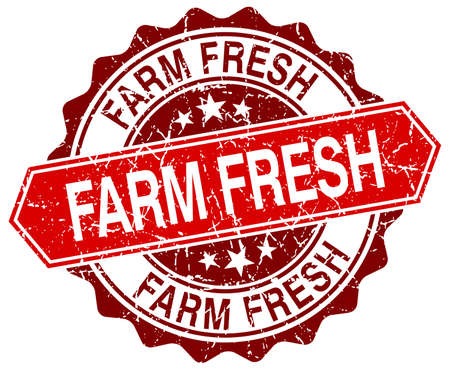 farm fresh: farm fresh red round grunge stamp on white