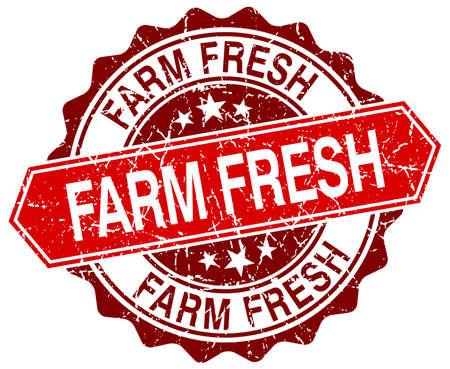 farm fresh: Farm Fresh rosso rotondo grunge timbro su bianco Vettoriali