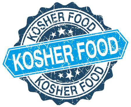 kosher: kosher food blue round grunge stamp on white