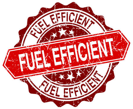efficient: fuel efficient red round grunge stamp on white
