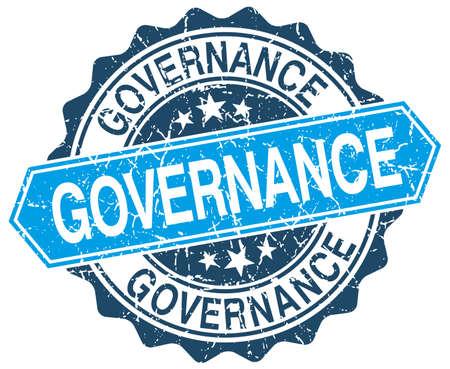 governance: bestuur blauwe ronde grunge stempel op wit