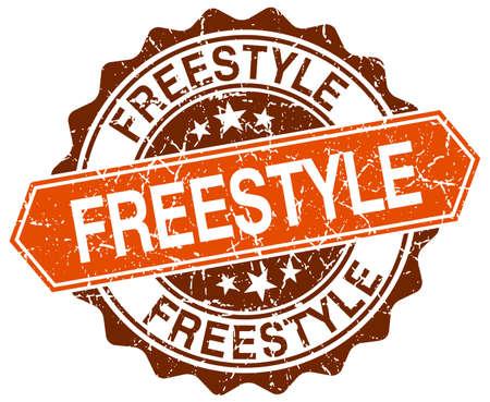 freestyle: freestyle orange round grunge stamp on white