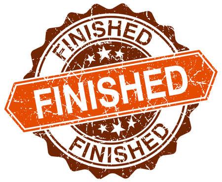 finished: finished orange round grunge stamp on white