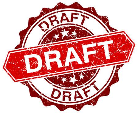 draft: draft red round grunge stamp on white