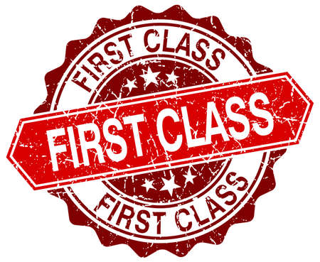 first class: first class red round grunge stamp on white