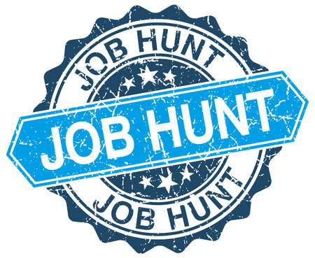 job hunt: job hunt blue round grunge stamp on white Illustration