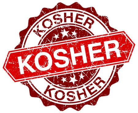kosher: kosher red round grunge stamp on white