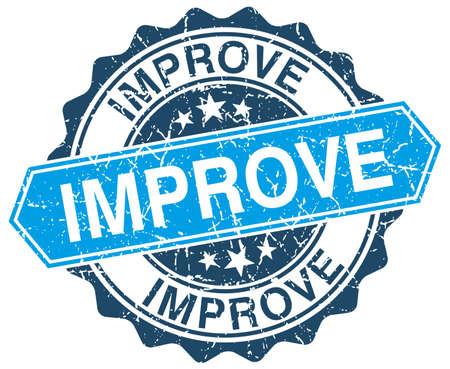 improving: improve blue round grunge stamp on white Illustration