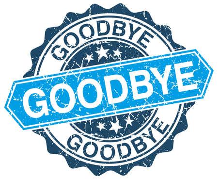 addio: addio rotonda blu grunge timbro su bianco Vettoriali