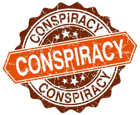 conspiracy orange round grunge stamp on white