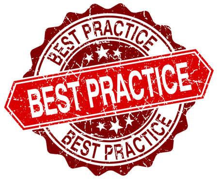 best practice: best practice red round grunge stamp on white