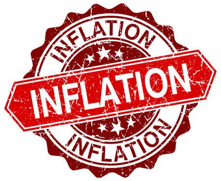 inflation: inflation red round grunge stamp on white Illustration