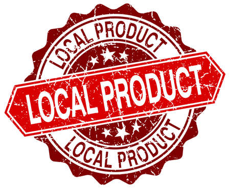 local: local product red round grunge stamp on white Illustration