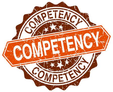competency: competency orange round grunge stamp on white