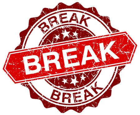break: break red round grunge stamp on white