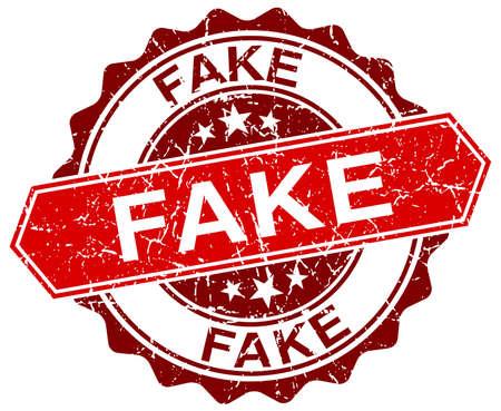 fake: fake red round grunge stamp on white