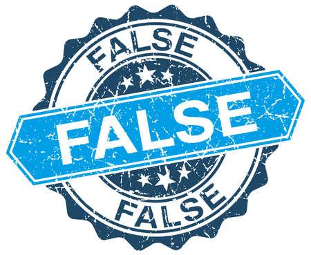 false: false blue round grunge stamp on white