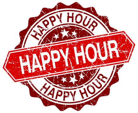 happy hour red round grunge stamp on white Vettoriali