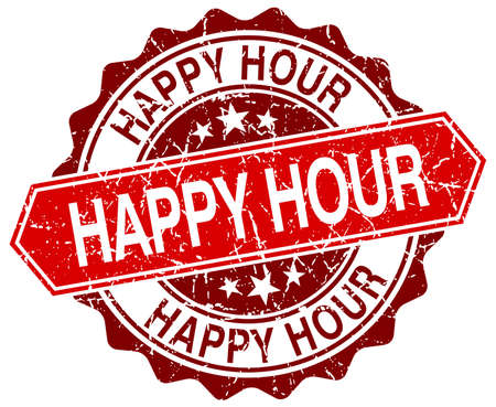 happy hour red round grunge stamp on white Illustration