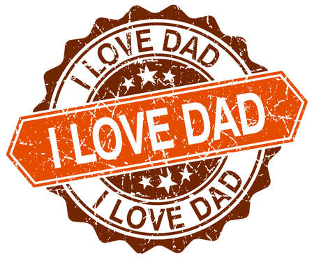 i love dad orange round grunge stamp on white