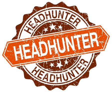headhunter: headhunter orange round grunge stamp on white