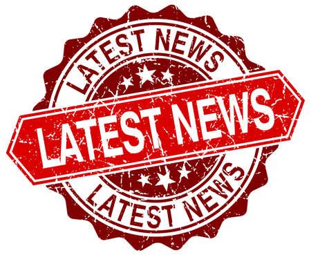 latest news: latest news red round grunge stamp on white