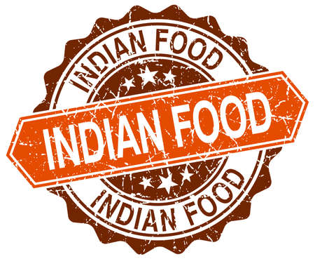 indian food: indian food orange round grunge stamp on white