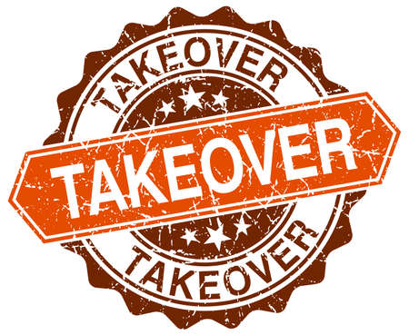 takeover: takeover orange round grunge stamp on white Illustration