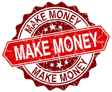 make money: make money red round grunge stamp on white