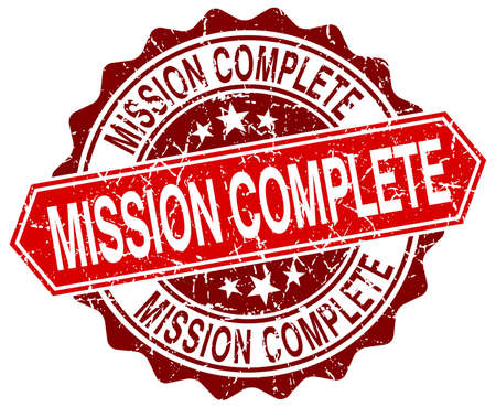 complete: mission complete red round grunge stamp on white Illustration