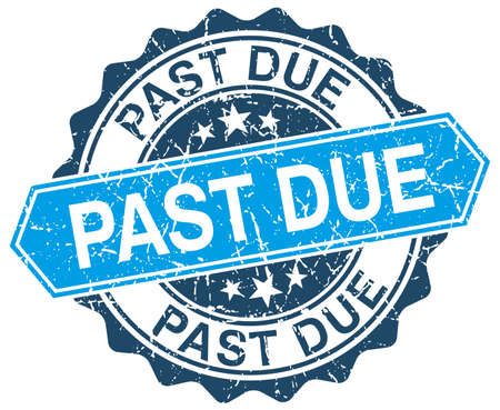 past due: past due blue round grunge stamp on white