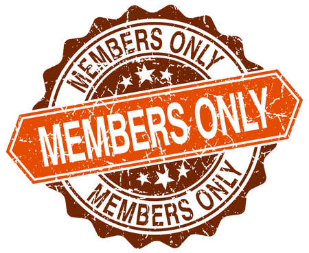 members only: members only orange round grunge stamp on white