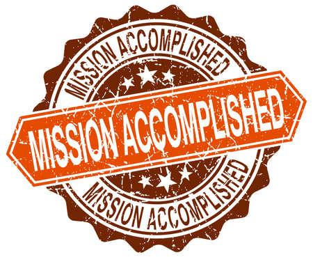 accomplished: mission accomplished orange round grunge stamp on white