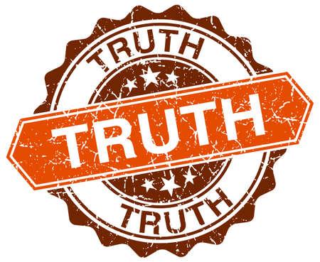 the truth: truth orange round grunge stamp on white