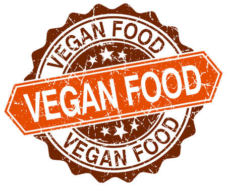 vegan food: vegan food orange round grunge stamp on white