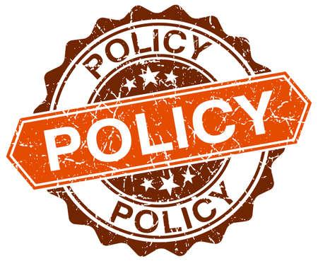 policy orange round grunge stamp on white Illustration