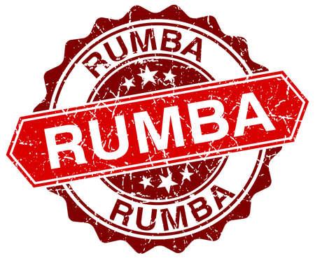 rumba: rumba red round grunge stamp on white