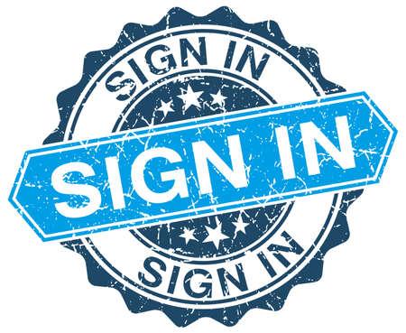 sign in: Anmelden blauen runden Grunge-Stempel auf wei�