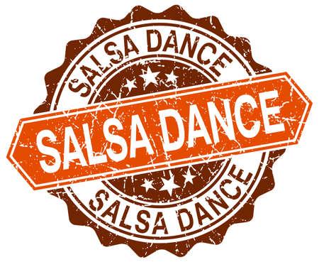 salsa dance: salsa dance orange round grunge stamp on white