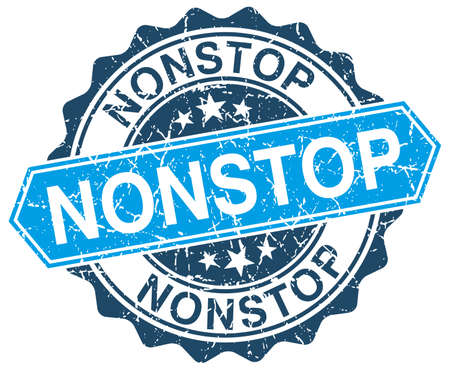 nonstop: nonstop blue round grunge stamp on white
