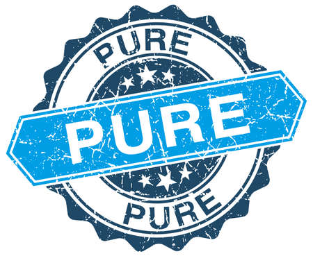 pure: pure blue round grunge stamp on white