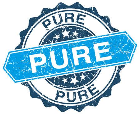 pure blue round grunge stamp on white