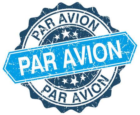 par avion blue round grunge stamp on white