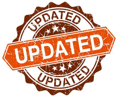 updated: actualizado naranja grunge sello redondo en blanco Vectores