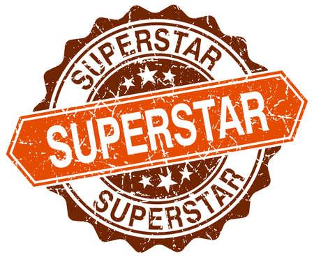 superstar: superstar orange round grunge stamp on white