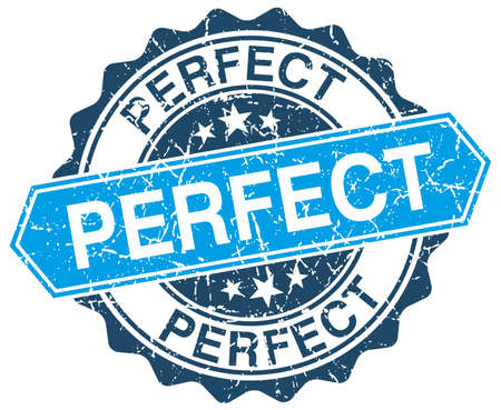 perfect blue round grunge stamp on white Illustration