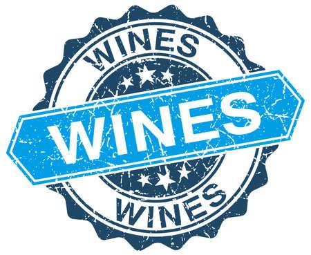wines: wines blue round grunge stamp on white