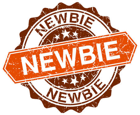 newbie: newbie orange round grunge stamp on white