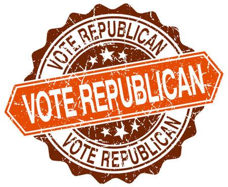 republican: vote republican orange round grunge stamp on white